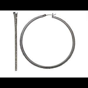 Nine West Black Large Pave Hoop Earrings